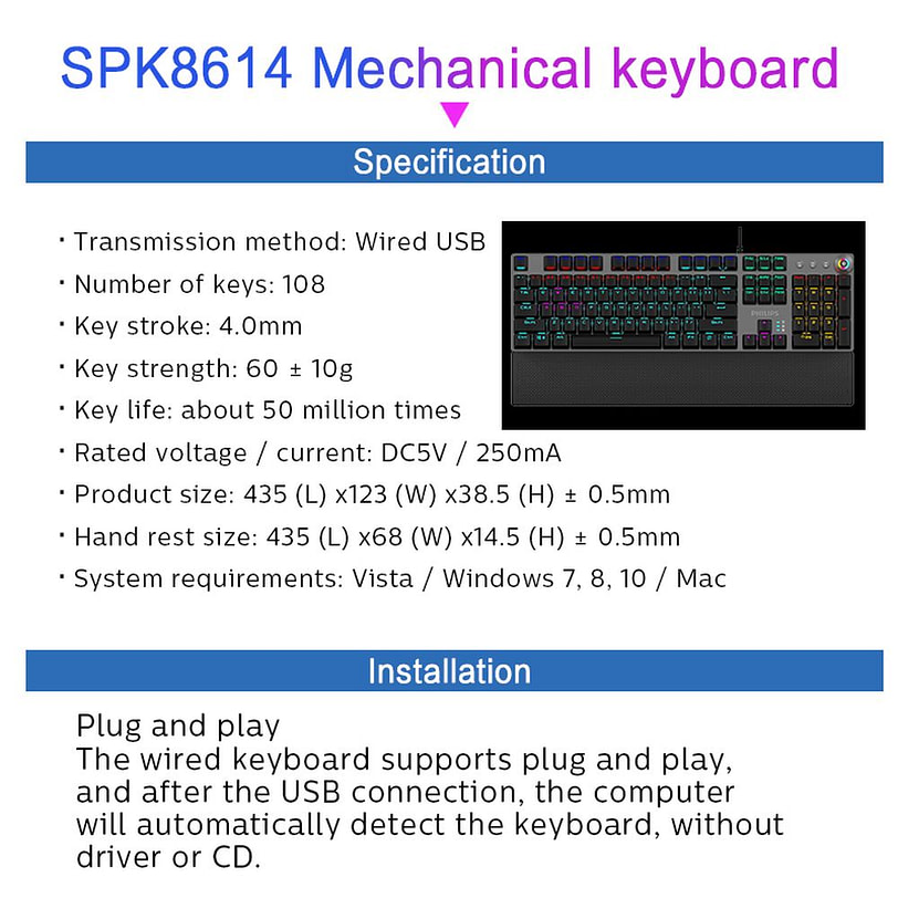 Philips SPK8614 Mechanical Gaming Keyboard with Wrist Rest Detail 14