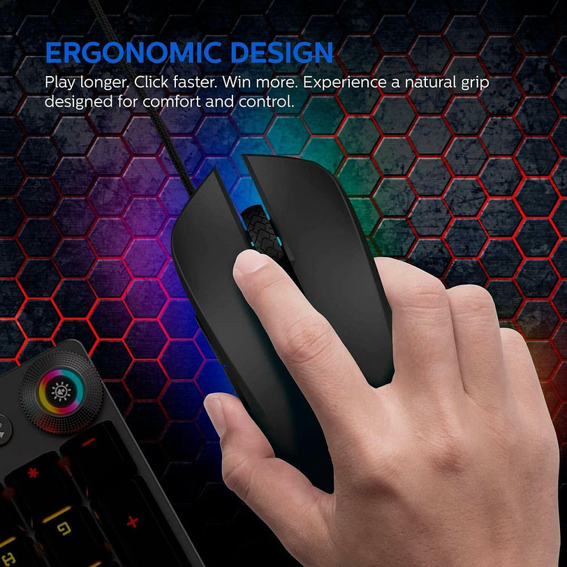 Philips SPK9313 Wired Gaming Mouse with Ambiglow Detail 01