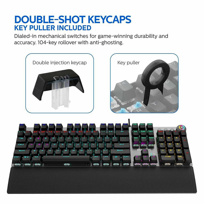 Philips SPK8614 Mechanical Gaming Keyboard with Wrist Rest Detail 04