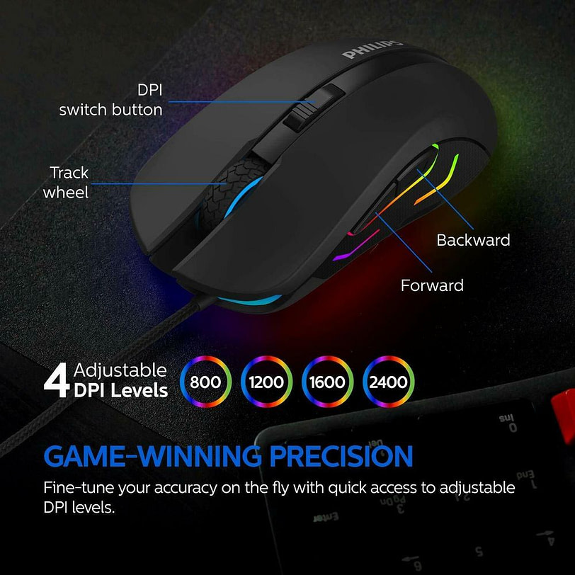 Philips SPK9313 Wired Gaming Mouse with Ambiglow Detail 03