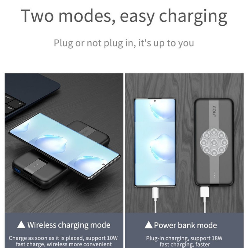 Golf PB W21 Fast Charge Wireless Power Bank Portable Charger 7 2