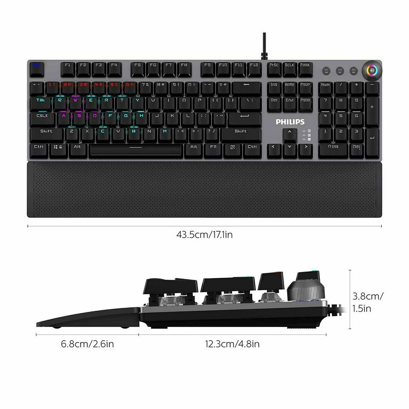 Philips SPK8614 Mechanical Gaming Keyboard with Wrist Rest Detail 03