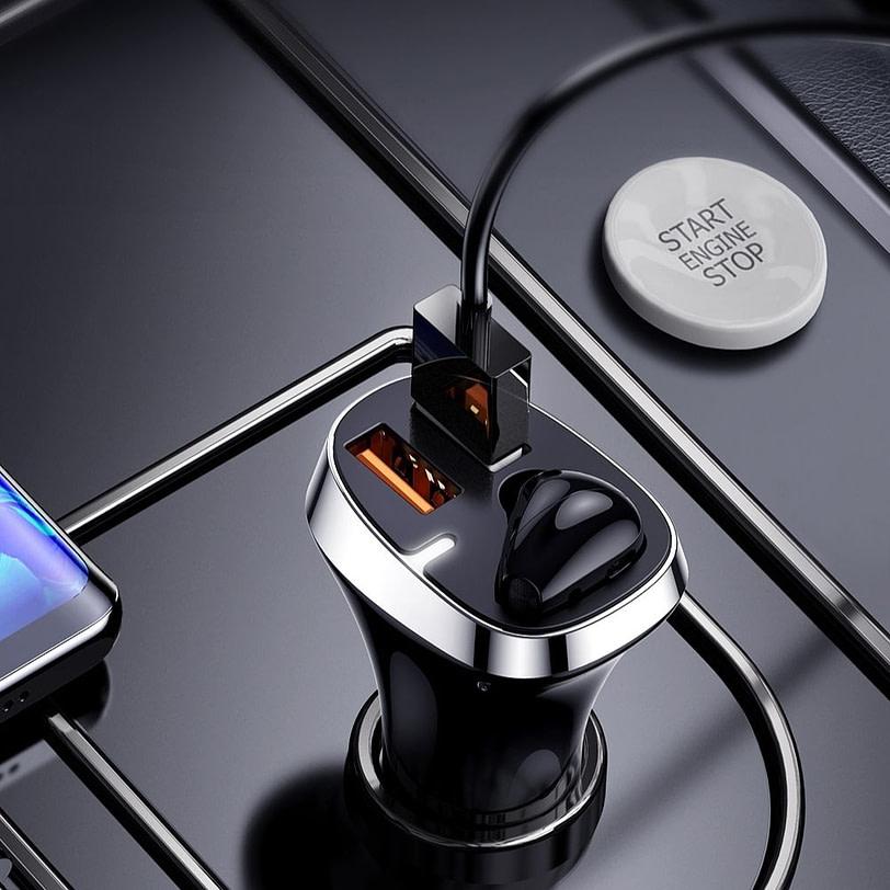 Joyroom JR CP2 Dual USB Car Charger with Wireless Earphone Black 4