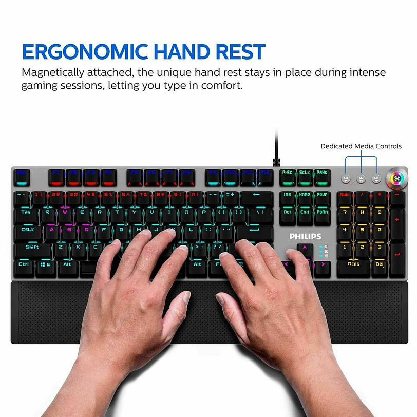 Philips SPK8614 Mechanical Gaming Keyboard with Wrist Rest Detail 02