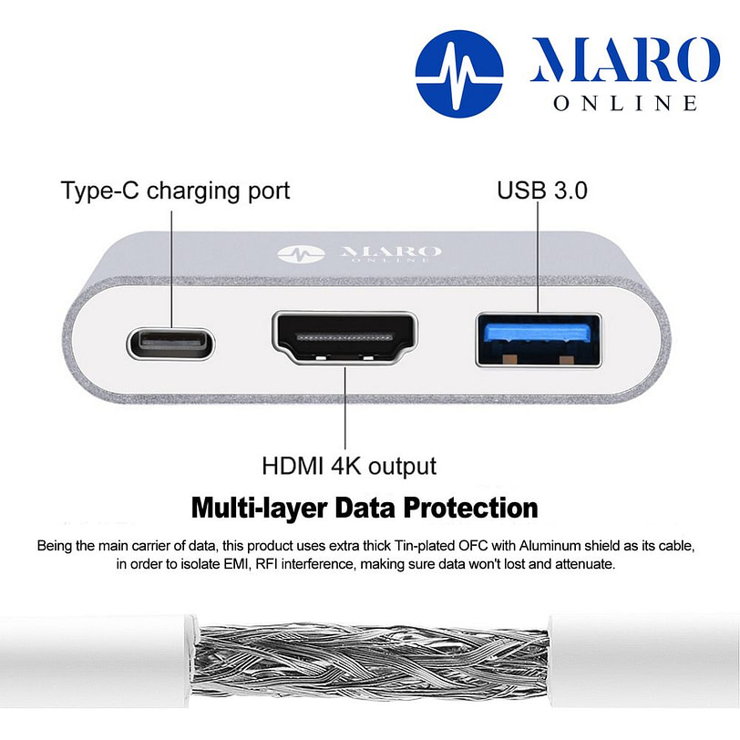 Maro 3 in 1 Type C USB HDMI Adapter Detail 02