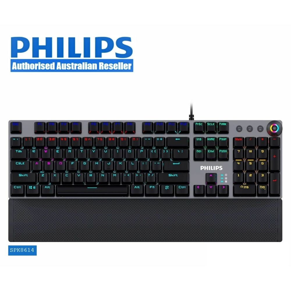 Philips SPK8614 Mechanical Gaming Keyboard with Wrist Rest Detail 01